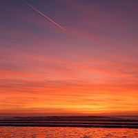 Buy canvas prints of Sunset over Croyde Beach by David Morton