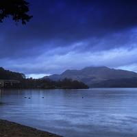 Buy canvas prints of Luss Beach in Loch Lomond at Night by JM Braat