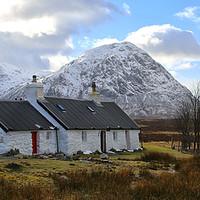 Buy canvas prints of Panorama of The Black Rock Cottage in Glen Coe by Jane Braat
