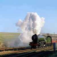 Buy canvas prints of  Green Arrow Departing from Hellifield by Paul Williams