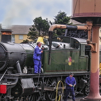 Buy canvas prints of  Getting the Loco Ready by Paul Williams