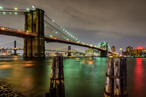 Brooklyn Bridge and Manhattan Bridge New York Canvas print by Chris Curry