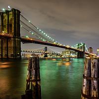 Buy canvas prints of Brooklyn Bridge and Manhattan Bridge New York by Chris Curry