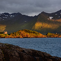 Buy canvas prints of Midnight Sun above Senja by Gisela Scheffbuch