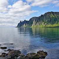 Buy canvas prints of The Devil's Teeth on Ersfjorden by Gisela Scheffbuch