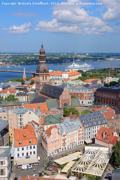 Riga in the Heart of the Baltic Region Canvas Print by Gisela Scheffbuch