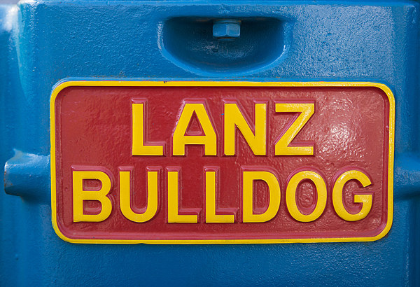 Sign Lanz Bulldog on tractor Canvas print by Matthias Hauser