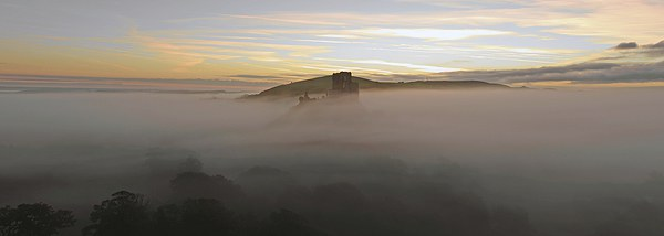 Corfe Castle in the Mist Canvas print by Shaun  Jacobs