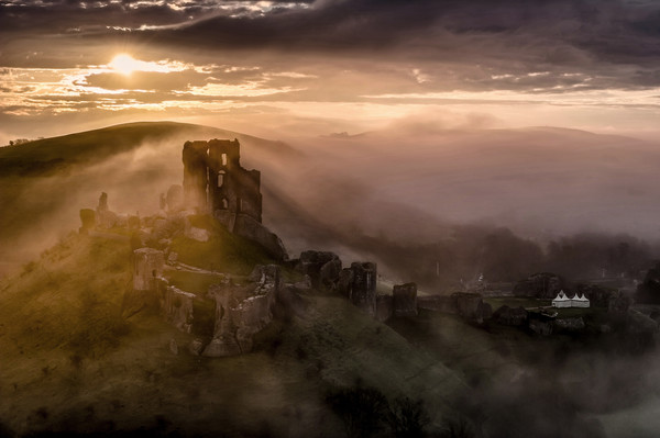 Corfe Castle misty sunrise  Canvas print by Shaun Jacobs
