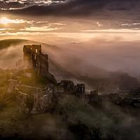 Buy canvas prints of Corfe Castle misty sunrise  by Shaun Jacobs