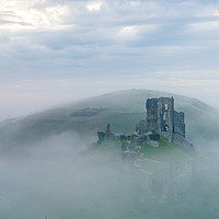 Buy canvas prints of Corfe castle in the mist by Shaun Jacobs