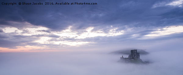 Corfe castle misty morning  Canvas print by Shaun Jacobs