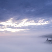 Buy canvas prints of Corfe castle misty morning  by Shaun Jacobs