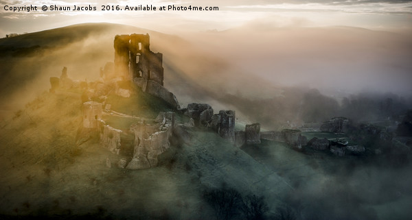 Corfe castle mistly morning  Canvas print by Shaun Jacobs