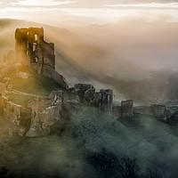 Buy canvas prints of Corfe castle mistly morning  by Shaun Jacobs
