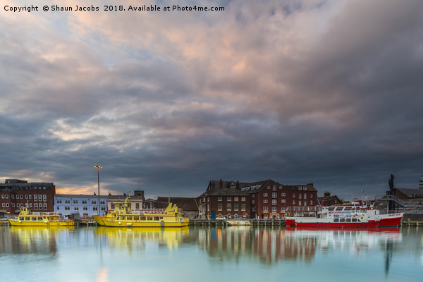 Poole Quay at sunset  Framed Mounted Print by Shaun Jacobs