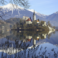 Buy canvas prints of Church of the Assumption of Mary on Bled Island La by John Keates
