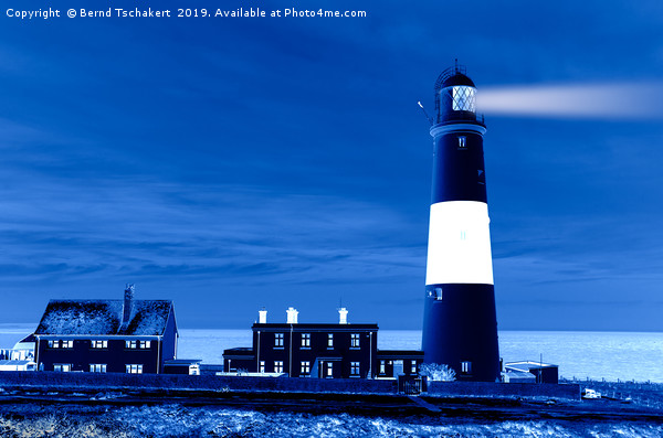 Portland Bill Lighthouse, night effect, England Canvas print by Bernd Tschakert