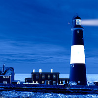 Buy canvas prints of Portland Bill Lighthouse, night effect, England by Bernd Tschakert
