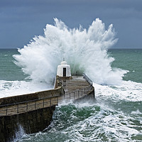 Buy canvas prints of stormy sea cornwall by Kevin Britland