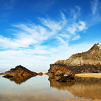 Buy canvas prints of tranquil beach cornwall by Kevin Britland