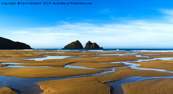 holywell bay at low tide, newquay, cornwall, engla Framed Mounted Print by Kevin Britland