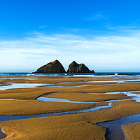 Buy canvas prints of holywell bay at low tide, newquay, cornwall, engla by Kevin Britland