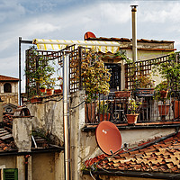 Buy canvas prints of  rooftop garden  florence italy by Kevin Britland