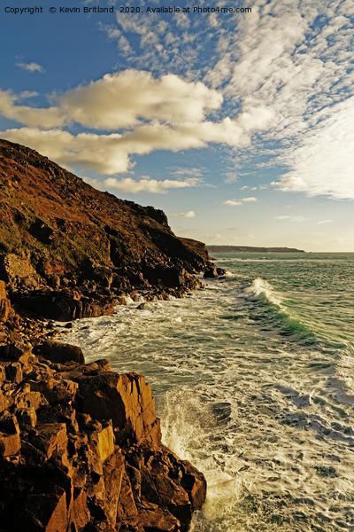 rugged cornish coastline Acrylic by Kevin Britland