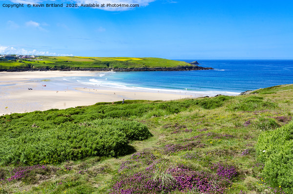 crantock beach cornwall Framed Mounted Print by Kevin Britland