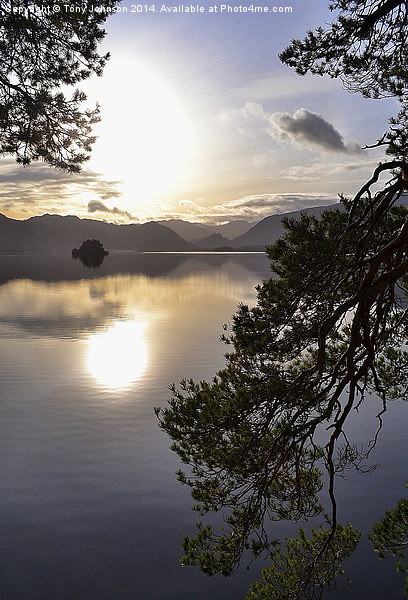 Tranquility on  Derwentwater Canvas Print by Tony Johnson