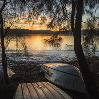 Buy canvas prints of  Narrabeen Lake sunset with boats by Sheila  Smart