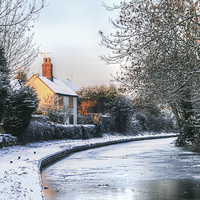 Buy canvas prints of  Snowy Penkridge Canal by Diane Griffiths