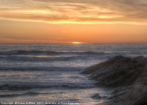 Fistral beach sunset Canvas print by Diane Griffiths
