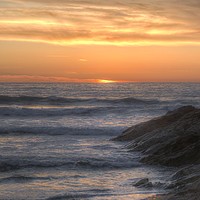 Buy canvas prints of Fistral beach sunset by Diane Griffiths