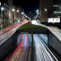 Buy canvas prints of Queensway Tunnel at Night by Andy Heap