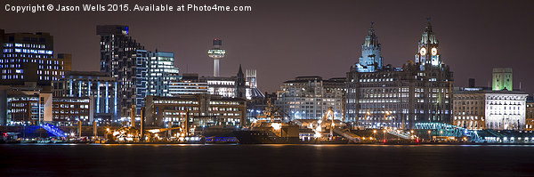 Liverpool waterfront at night Canvas print by Jason Wells