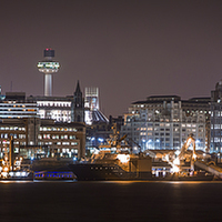 Buy canvas prints of Liverpool waterfront at night by Jason Wells