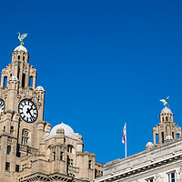 Buy canvas prints of Liverbirds high above Liverpool by Jason Wells