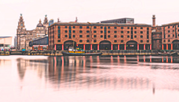 Albert Dock panorama (colour) Canvas Print by Jason Wells