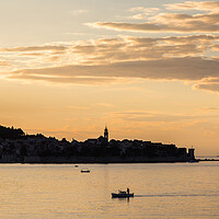 Buy canvas prints of Fisherman in front of Korcula old town by Jason Wells