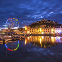 Buy canvas prints of Torquay Harbour by Night by John Fowler