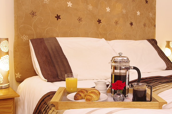 Romantic Continental  Breakfast in Bedroom Canvas print by Richard Pinder