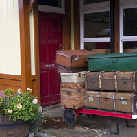 Buy canvas prints of  Railway Luggage on the Platform by Richard Pinder