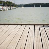 Buy canvas prints of Boardwalk foreground at Nidzkie lake by Arletta Cwalina