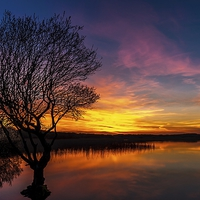 Buy canvas prints of  Fire in the Sky, Kenfig pool by Dean Merry