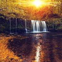 Buy canvas prints of Sgwd Ddwli Uchaf, Brecon Waterfalls by Dean Merry