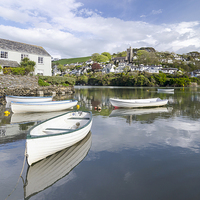 Buy canvas prints of  Noss Mayo viewed across the river Yealm  from New by John Boud