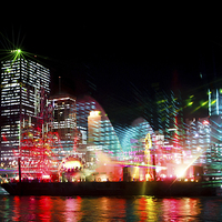 Buy canvas prints of Brisbane City of Lights by Peta Thames