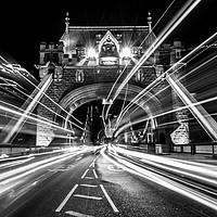 Buy canvas prints of Light Trails in Monochrome. by Peter Bunker